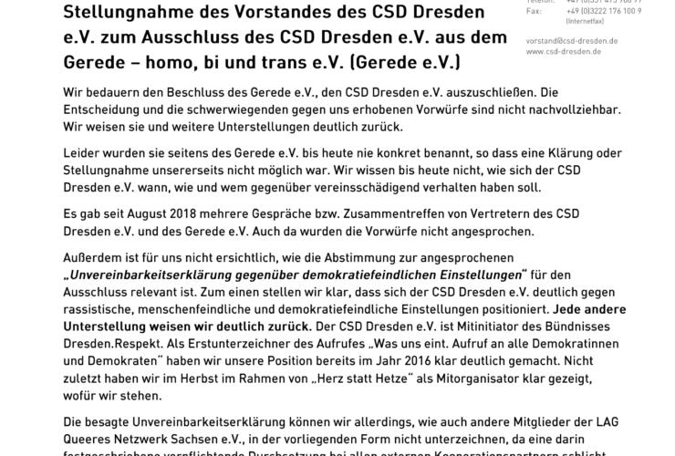 Stellungnahme des Vorstandes des CSD Dresden e.V.