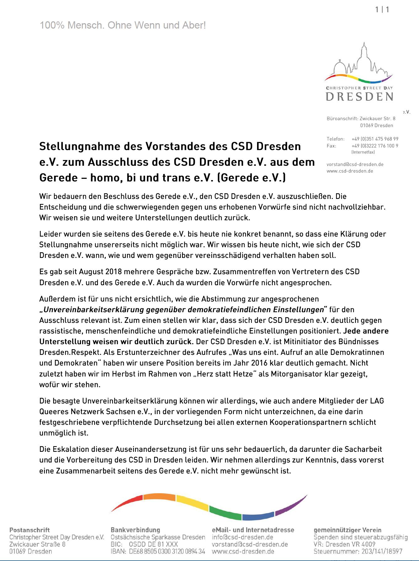Erklärung des Vorstandes des CSD Dresden e.V. zum Ausschluß des CSD Dresden e.V. aus dem Gerede - homo, bi und trans e.V. (Gerede e.V.)